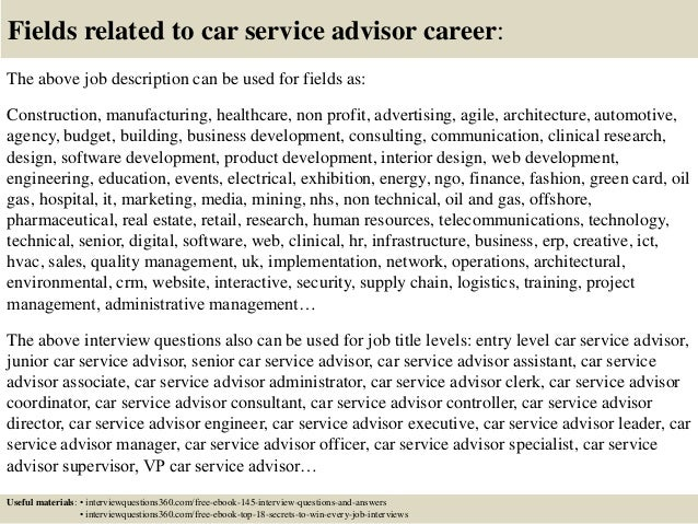 Top 10 car service advisor interview questions and answers