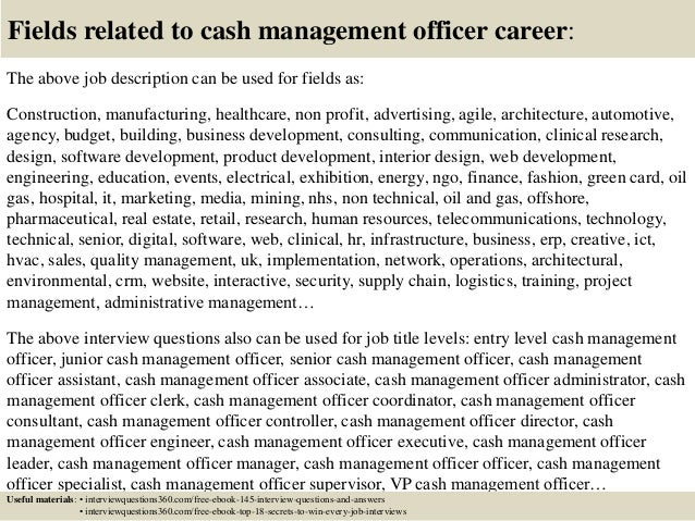 Top 10 cash management officer interview questions and answers