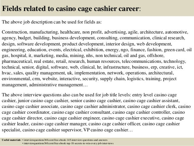 top 10 casino cage cashier interview questions and answers