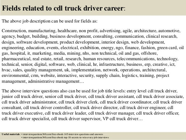 Charming ... 18. Fields Related To Cdl Truck Driver Career: The Above Job Description  ... Nice Ideas