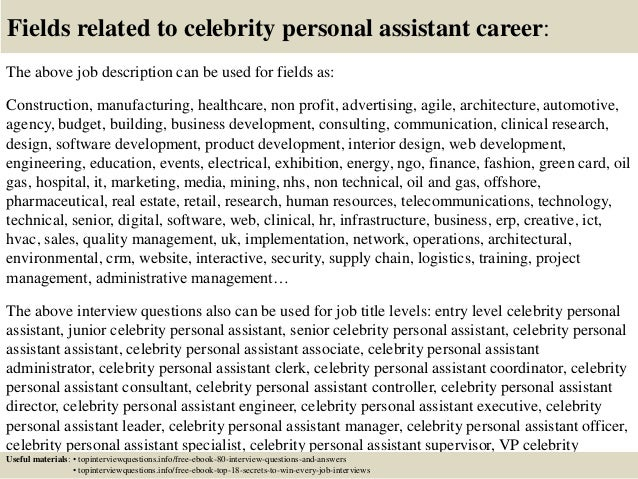100 original papers sample resume for celebrity personal assistant