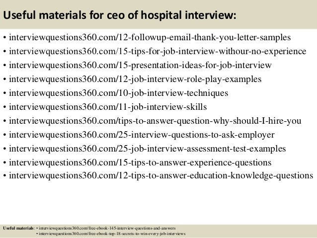 Top 10 ceo of hospital interview questions and answers