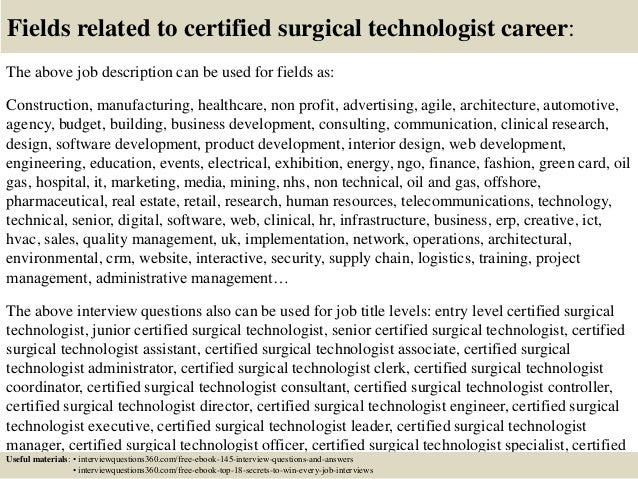 Wonderful ... 18. Fields Related To Certified Surgical Technologist Career: The Above Job  Description ...