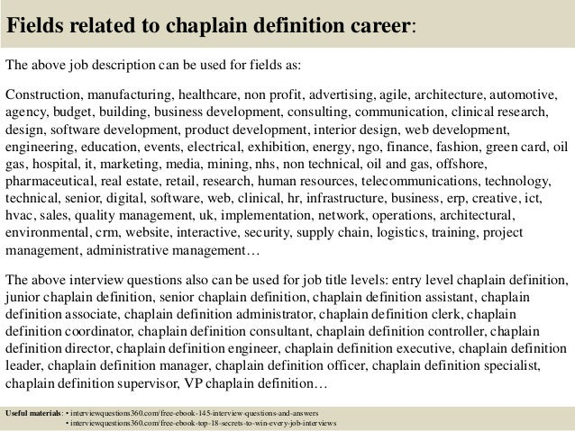 Top 10 chaplain definition interview questions and answers