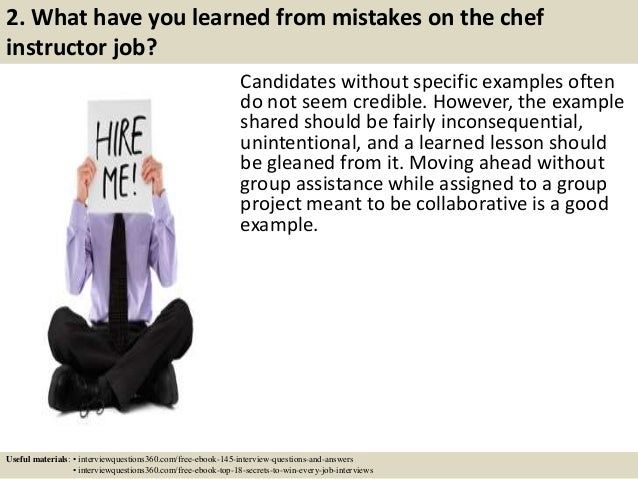 Top 10 chef instructor interview questions and answers