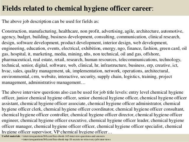 18 fields related to chemical hygiene officer career the above job description - Chemical Hygiene Officer Sample Resume