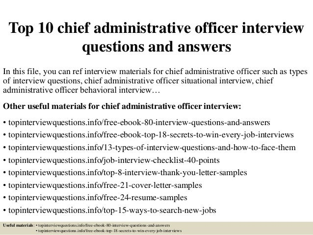Exceptional Top 10 Chief Administrative Officer Interview Questions And Answers In This  File, ...