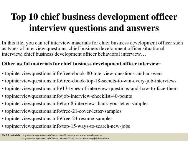 Top 10 chief business development officer interview questions and ans…