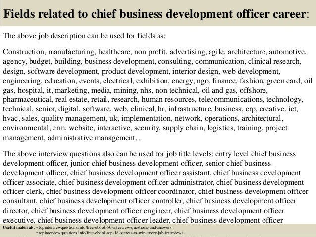 Top  Chief Business Development Officer Interview Questions And Ans