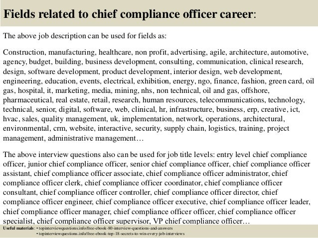 Top 10 chief compliance officer interview questions and - Compliance officer position description ...