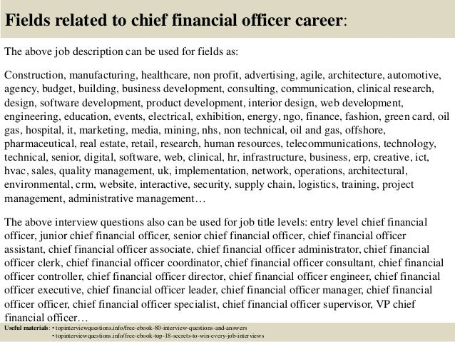 ... 17. Fields Related To Chief Financial Officer Career: The Above Job  Description ...