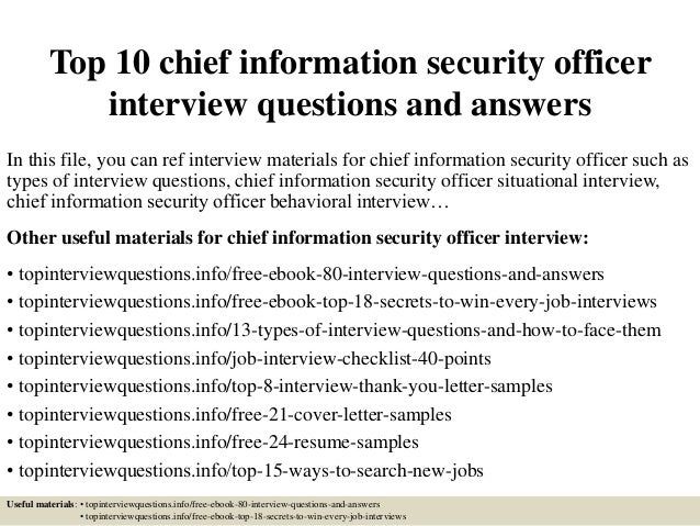 top 10 chief information security officer interview