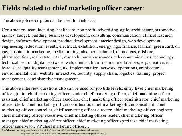 ... 17. Fields Related To Chief Marketing Officer Career: The Above Job  Description ...