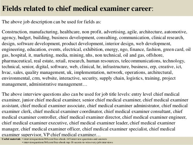 Top 10 chief medical examiner interview questions and answers – Chief Medical Officer Job Description
