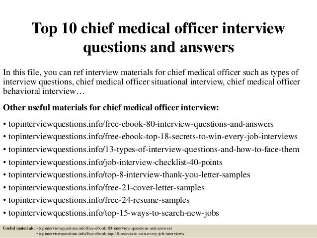 top 10 chief medical officer interview questions and answers in this file