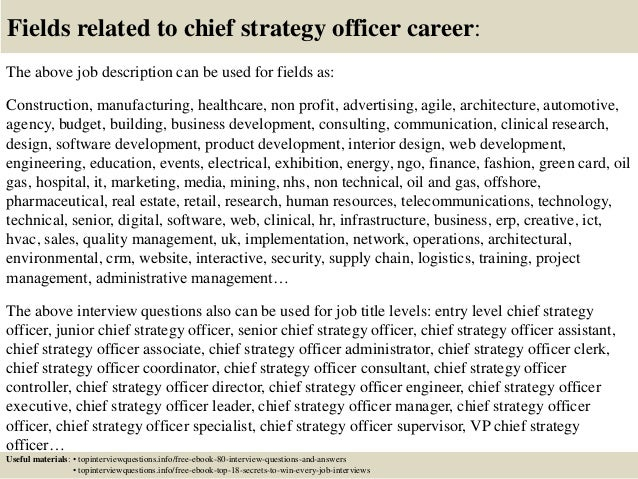 17 fields related to chief strategy officer career the above job description - Chief Strategy Officer Job Description