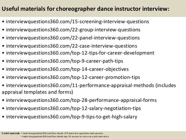 top 10 choreographer dance instructor interview questions