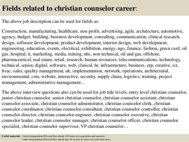 Top 10 christian counselor interview questions and answers