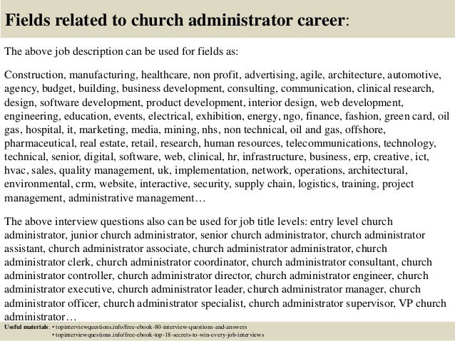 17 fields related to church administrator - Church Administrative Assistant Salary