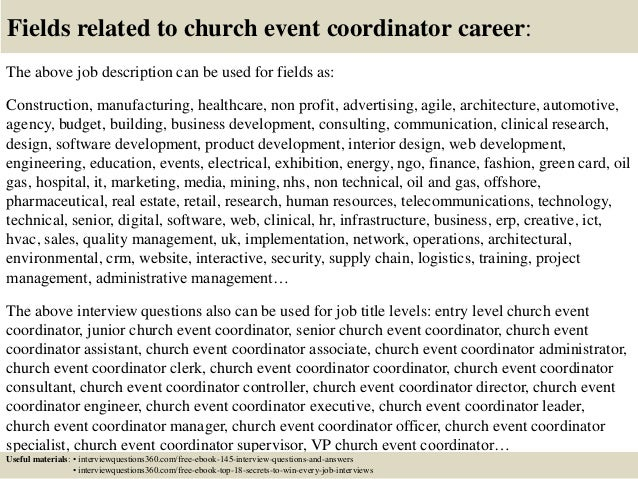 Top  Church Event Coordinator Interview Questions And Answers