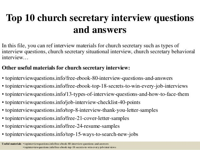 Top 10 Church Secretary Interview Questions And Answers In This File, You  Can Ref Interview ...