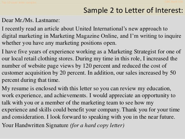 Top 10 Cibc Bank Usa Cover Letter Samples