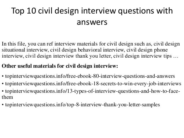 Top 10 Civil Design Interview Questions With Answers In This File You Can Ref
