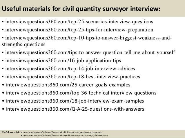 Useful materials for civil quantity surveyor interview: • interviewquestions360.com/top-25-scenarios-interview-questions •...