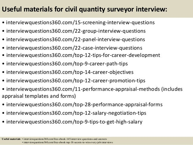 Useful materials for civil quantity surveyor interview: • interviewquestions360.com/15-screening-interview-questions • int...