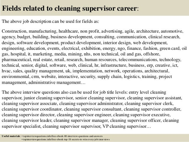 Top 10 cleaning supervisor interview questions and answers