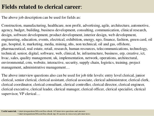 ... 18. Fields Related To Clerical Career: The Above Job Description ...