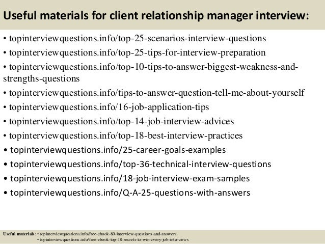 client relationship interview questions