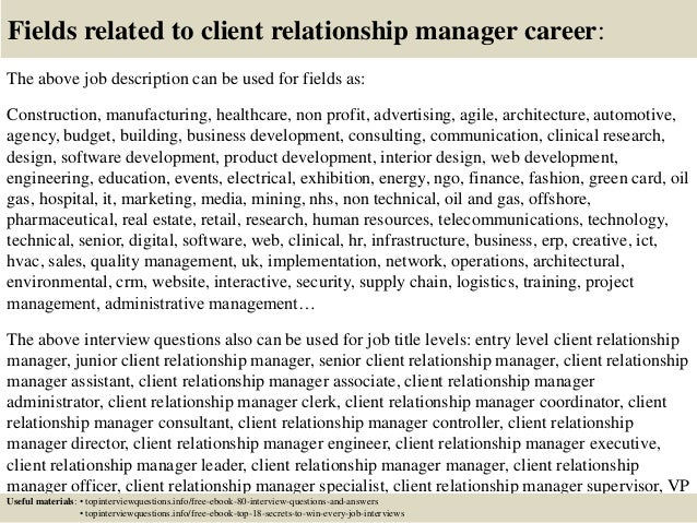Top 10 client relationship manager interview questions and answers