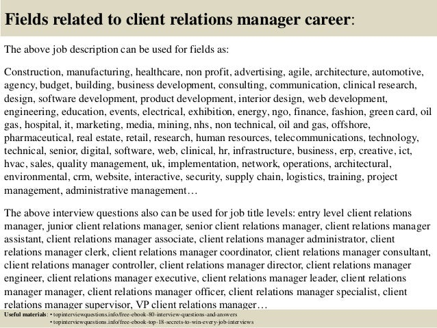 client relations manager