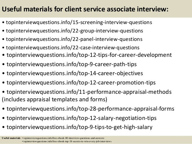 Top 10 client service associate interview questions and answers