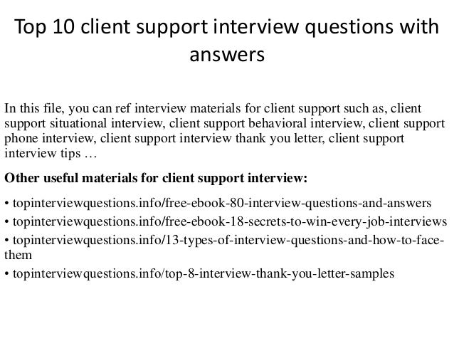 Top 10 Client Support Interview Questions With Answers