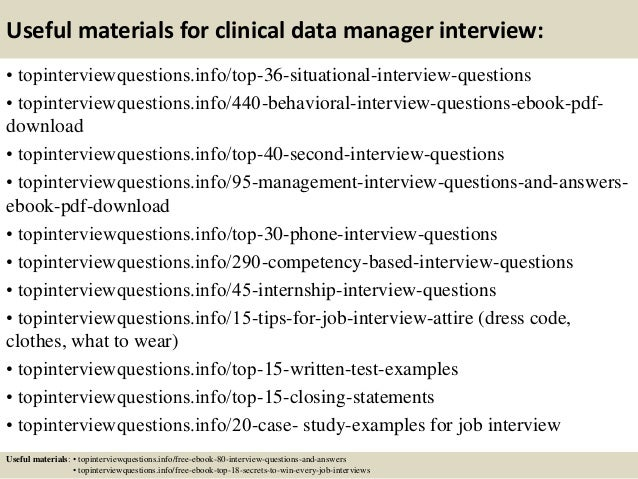 Top 10 clinical data manager interview questions and answers