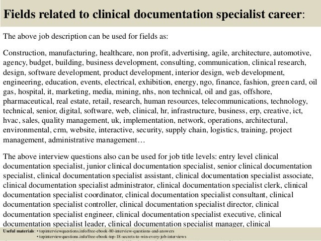 17 fields related to clinical documentation specialist - Clinical Documentation Specialist Sample Resume
