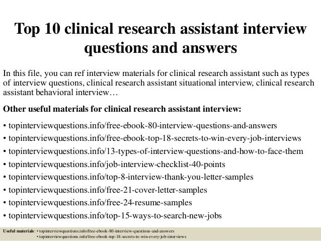 Resume of a clinical research assistant