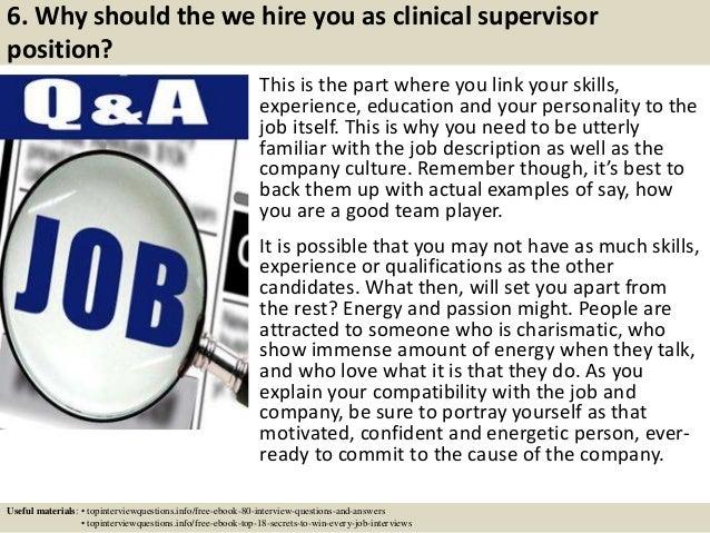 7 6 - Clinical Supervisor Job Description