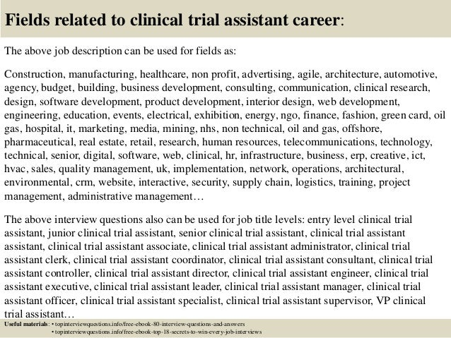 Clinical Trial Assistant Cover Letter. Popular Cover Letter For Clinical  Research Project ...