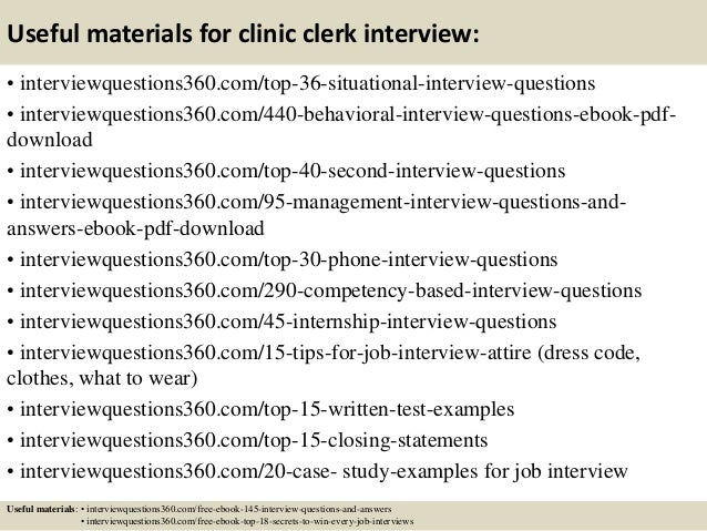 13 useful materials for clinic clerk interview