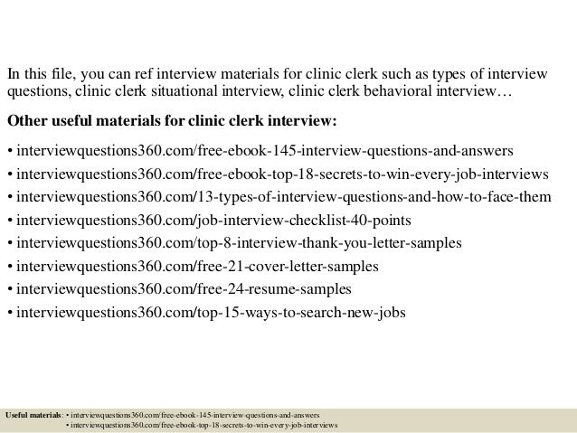Top 10 clinic clerk interview questions and answers