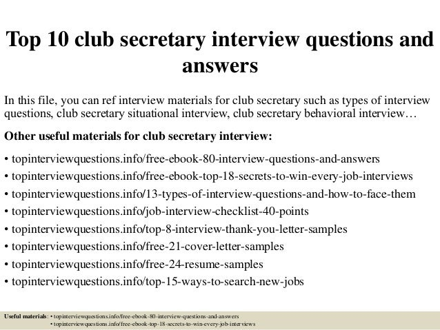 Top 10 Club Secretary Interview Questions And Answers