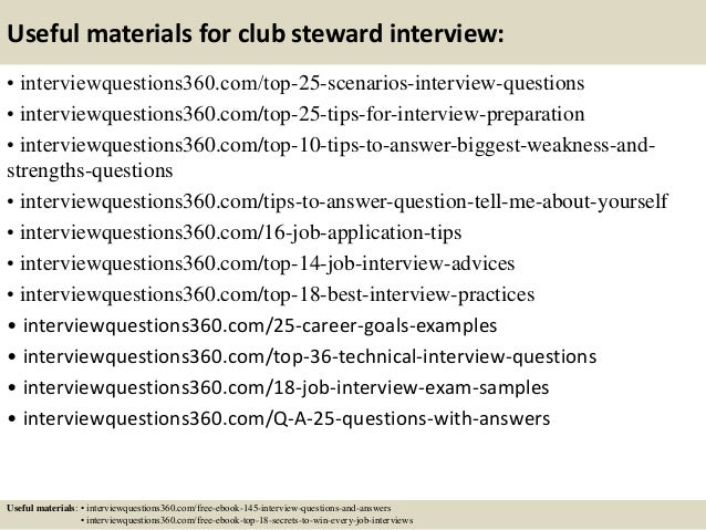 Top 10 club steward interview questions and answers