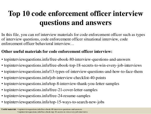 Top 10 Code Enforcement Officer Interview Questions And Answers In This  File, ...