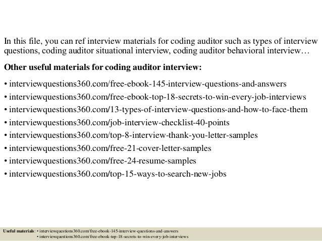 Coding Auditor Cover Letter
