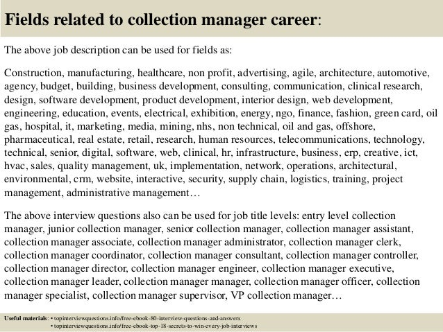 Top 10 collection manager interview questions and answers