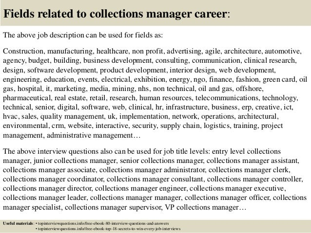 top 10 collections manager interview questions and answers