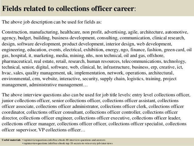 Top 10 collections officer interview questions and answers